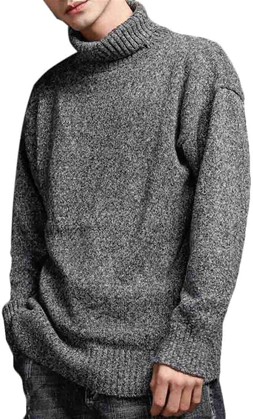 Emastor Mens Plus Size Solid Color Thicken Warm Knitting Sweater