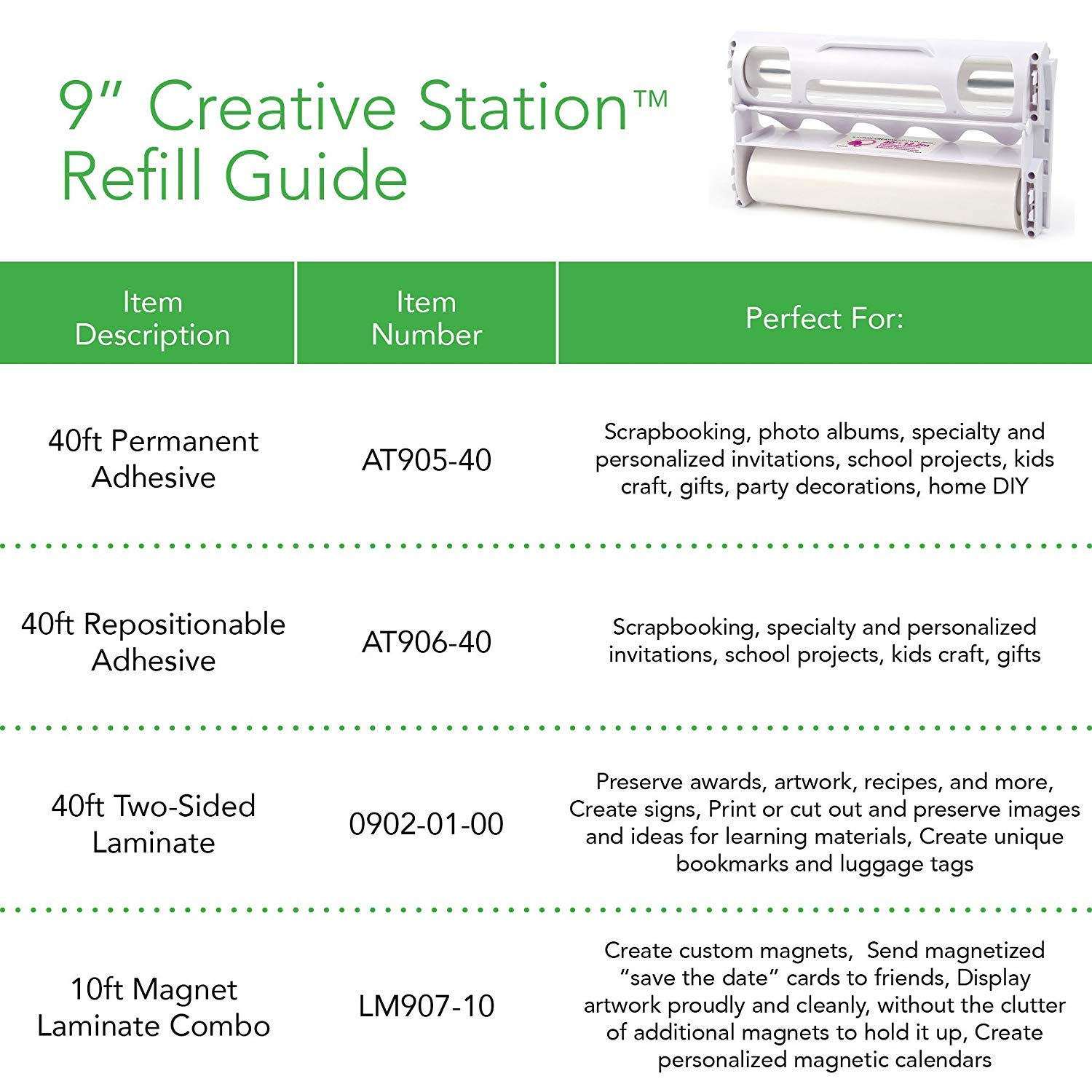 Xyron Acid-Free Permanent Adhesive Refill Cartridge for the 9-Inch Creative Station, 40-feet AT905-40