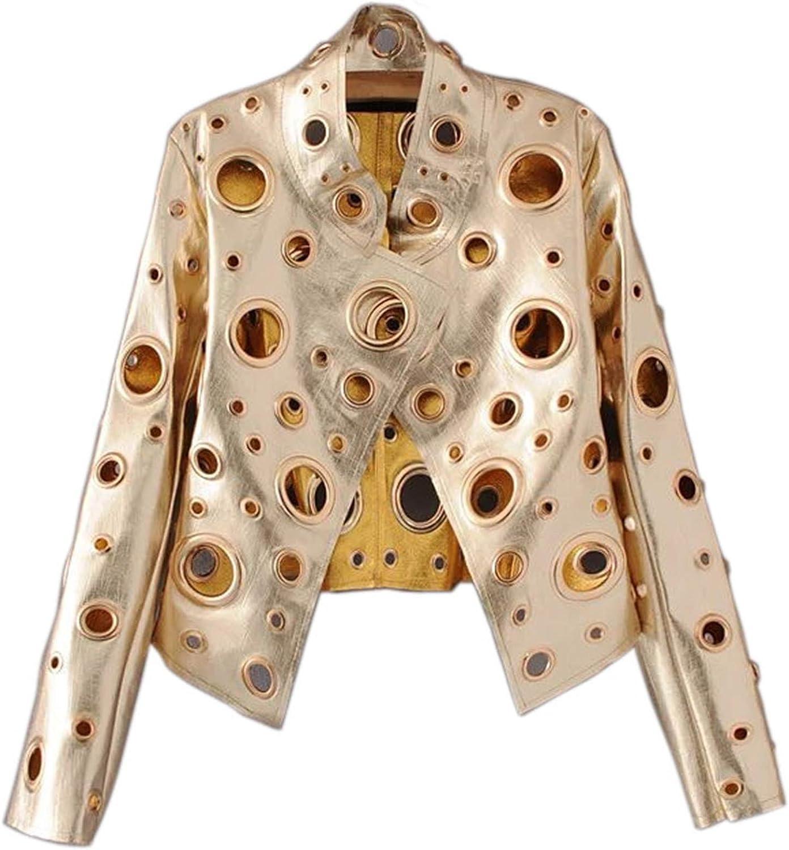 Allonly Womens Fashion Golden Rivet Leather Cashmere Shearling Lapel Zipper Warm Coat Moto Jacket