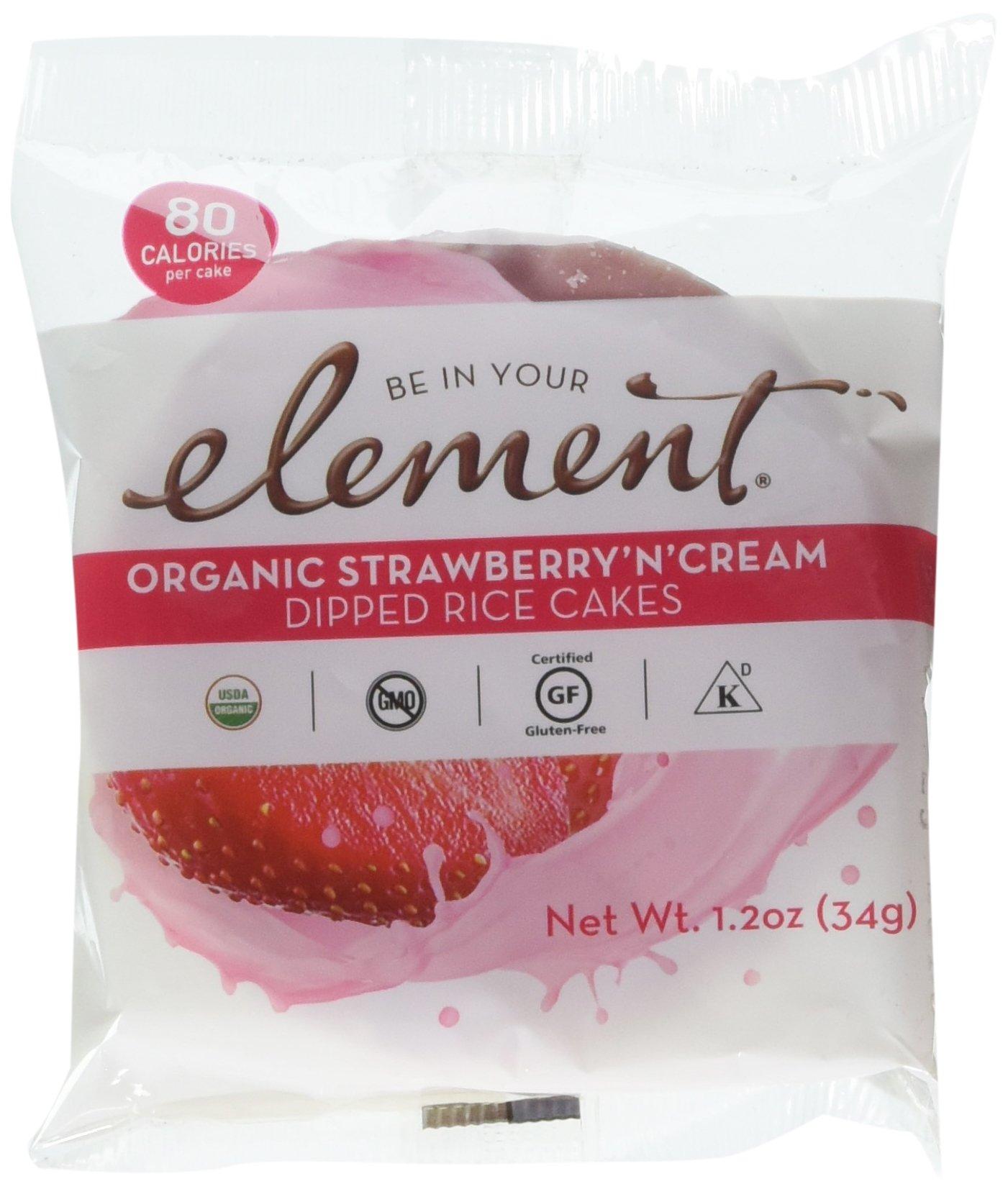 ELEMENT, Rice Cake, Og2, Stwby, Creme, Pack of 8, Size 1.2 OZ, (Low Carb Gluten Free Kosher Low Sodium Vegan Wheat Free Yeast Free 95%+ Organic)