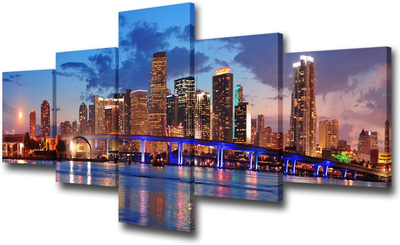 Amazon Com 5 Panels Wall Art Canvas Print Miami Beach Skyline Night Cityscape Miami City Canvas Print Miami Night Art Canvas Print Unsleep City Ny City Picture For Living Room Ready To Hang