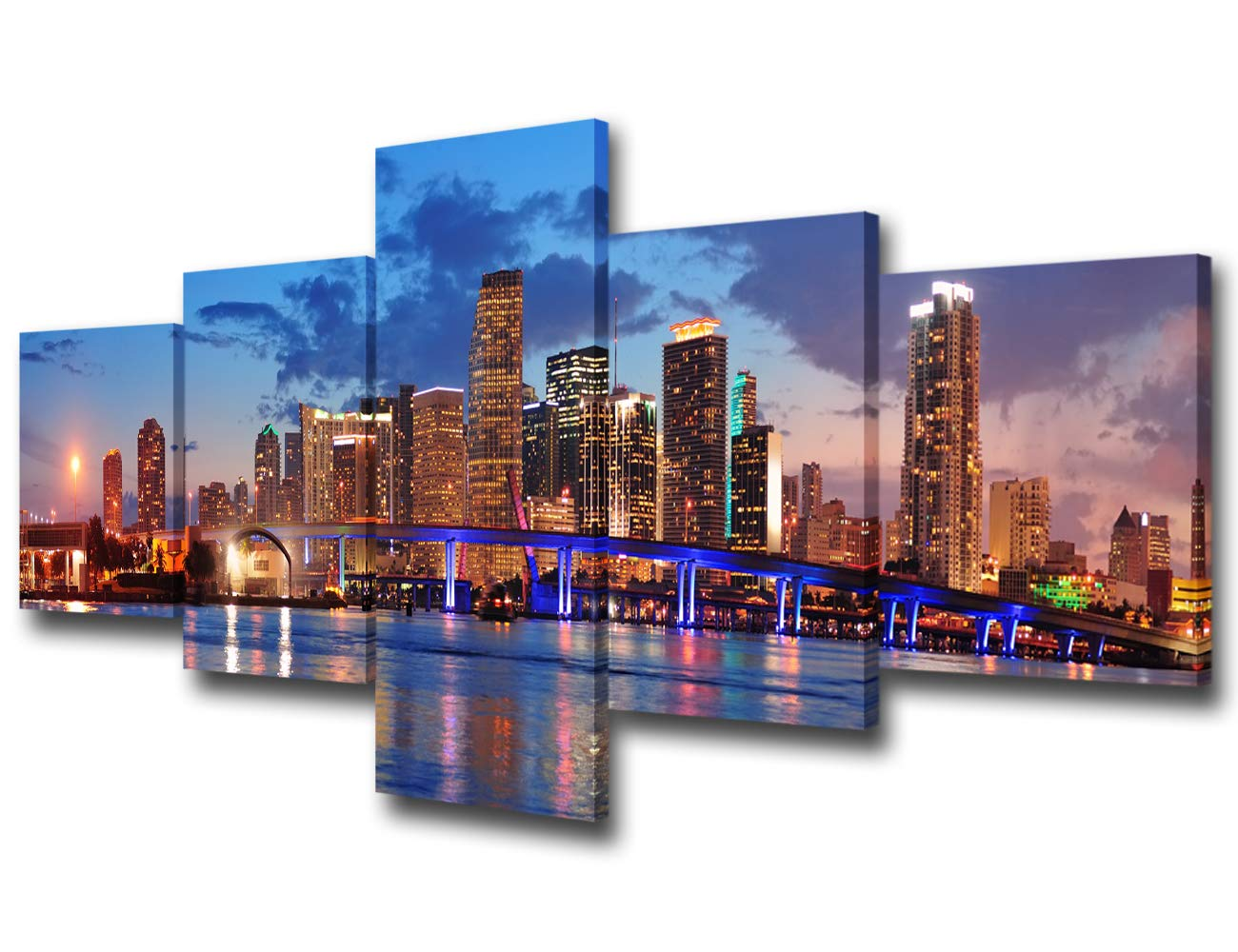 "5 Panels Wall Art Canvas Print Miami Beach Skyline Night Cityscape Miami City Canvas Print Miami Night Art Canvas Print Unsleep City Ny City Picture for Living Room Ready to Hang - 50""W x 24""H"