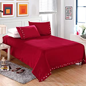 Decdeal 1800 Series Lux Decor Collection Solid Embroider Cording 4Pcs Bedding Set Deep Pocket Fitted Sheet Bed Cover Pillow Cases Bedclothes Home Textiles