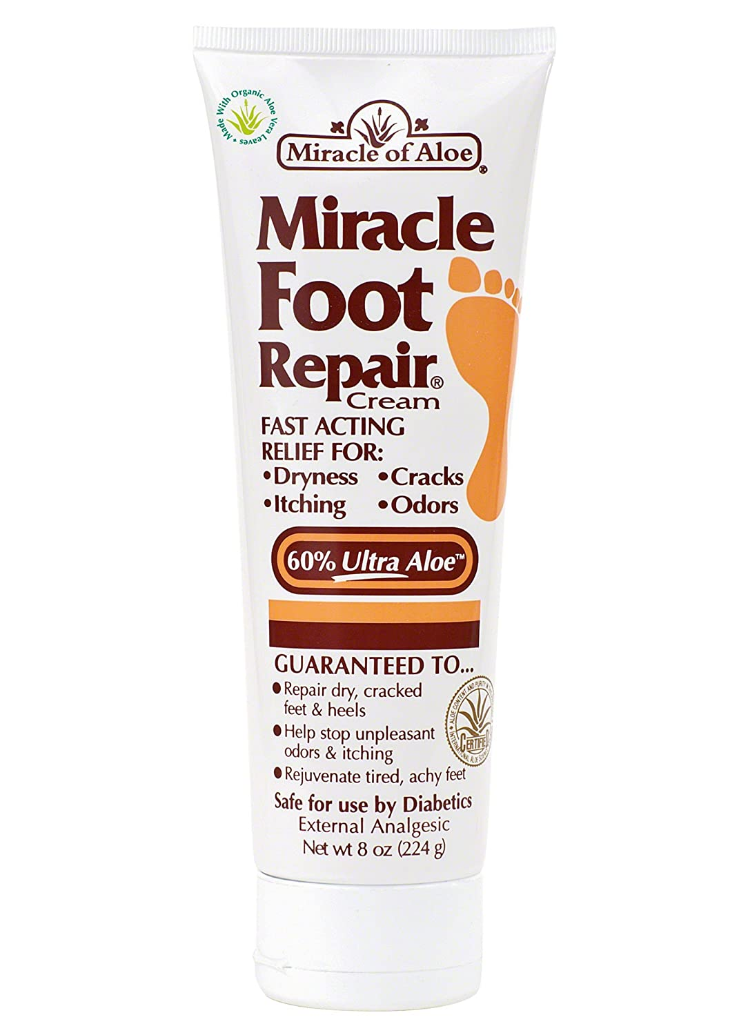 Miracle of Aloe, Miracle Foot Repair Cream with 60% UltraAloe 8 ounce tube