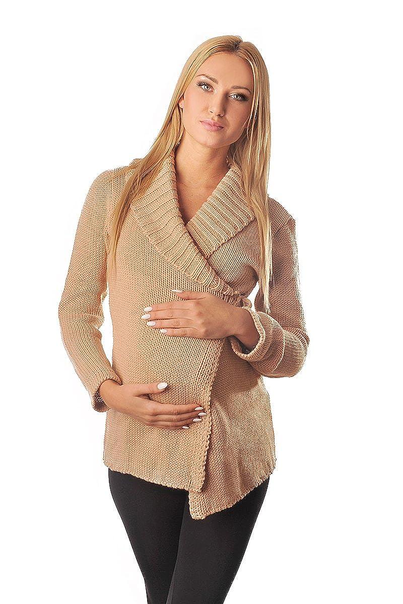 Purpless Damen Umstands-Mode Warm Wickel Strickjacke Schwangerschaft Pflegekleidung 9002