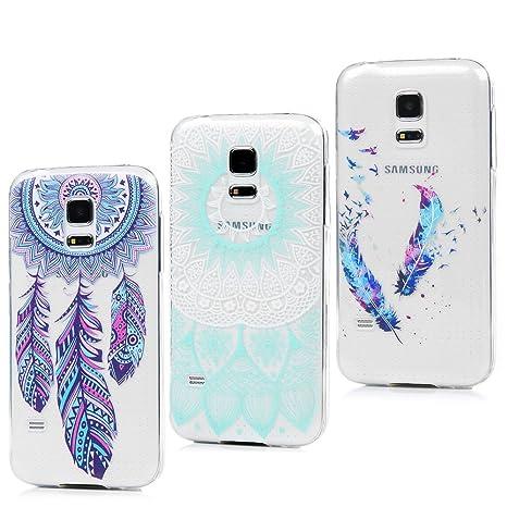 3x Funda para Samsung Galaxy S5 Mini, Carcasa Silicona Gel Case Ultra Delgado TPU Goma Flexible Cover para Samsung Galaxy S5 Mini - Totem + Pluma De ...