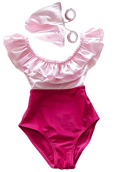 231f26e0fec Amazon.com: Baby Girls Kids Toddler Two Piece Off-Shoulder Bathing Suit  Swimsuit Swimwear with Caps: Clothing