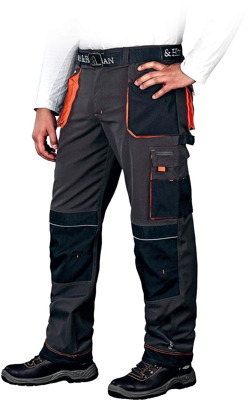 Arbeitshose Leber&Hollman Pantaloni da Lavoro - Pantaloni Neri Multitasche da Uomo - con Tasche per Ginocchiere - Estivi Elasticizzati