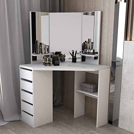 Corner Dressing Table Makeup Desk With Three Fold Mirror And 5 Drawers Wooden Bedroom Vanity Table White Kitchen Dining