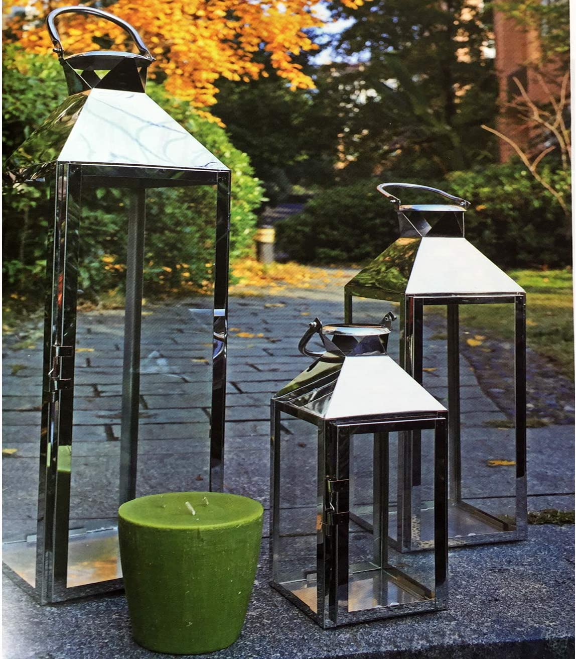 Mojawo Set of 8 XXL Garden Lanterns Stainless Steel Lantern