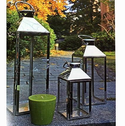 Lanterne Grandi Da Esterno.Mojawo Set Di 3 Lanterne Da Giardino Xxl In Acciaio Inox