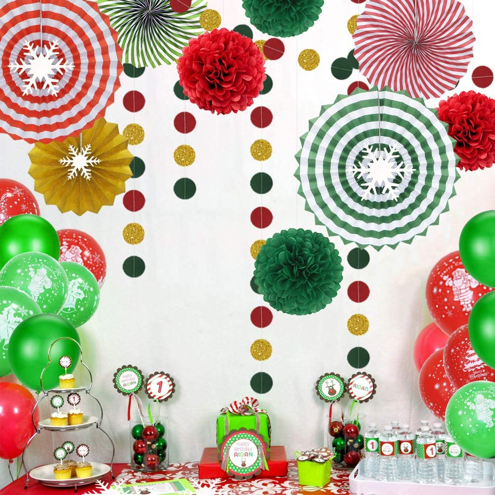 Christmas Party Decoration Set of Hanging Paper Fans Red Green Glitter Gold Circle Garland Tissue Pom Poms Balloons and Snowflake Stickers, Xmas New Years Party Backdrop …