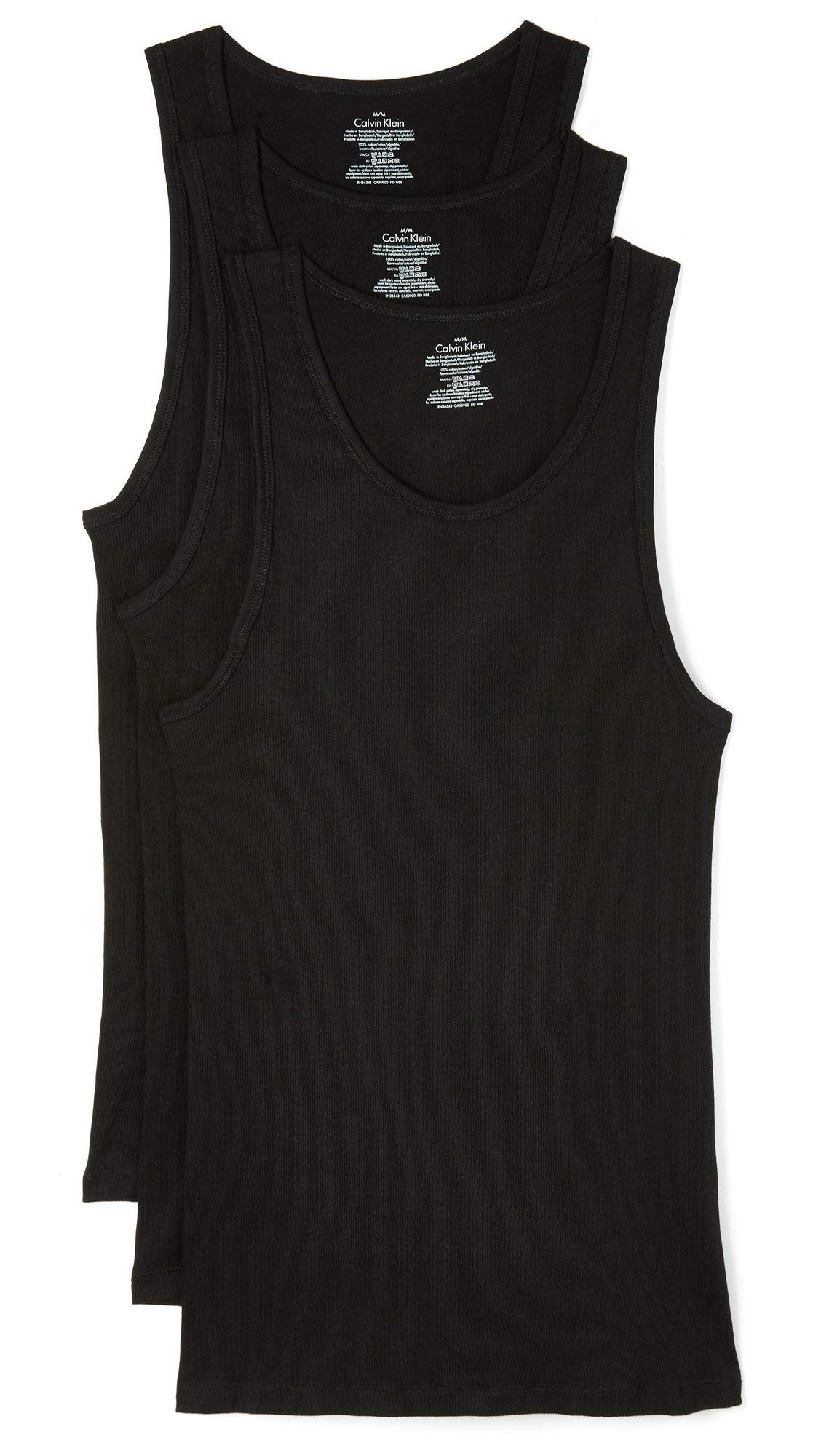 Calvin Klein Men's Cotton Classics Multipack Tanks, Black, XX-Large by Calvin Klein