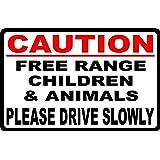 """2 SLOW DOWN FREE RANGE CHILDREN /& ANIMALS SIGN 16/"""" X12/"""""""