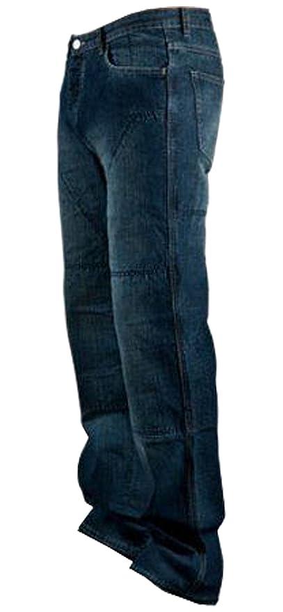 Juicy Trendz Hombre Motocicleta Pantalones Moto Pantalón Mezclilla Jeans Con Protección Aramida Azul W38-L34