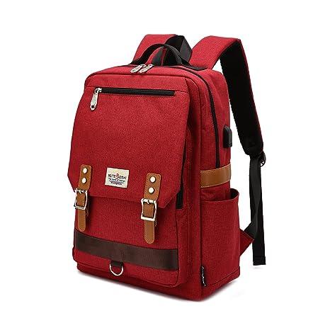 Mochila para portátil, mochila escolar para portátil de 15.6 pulgadas con puerto de carga USB