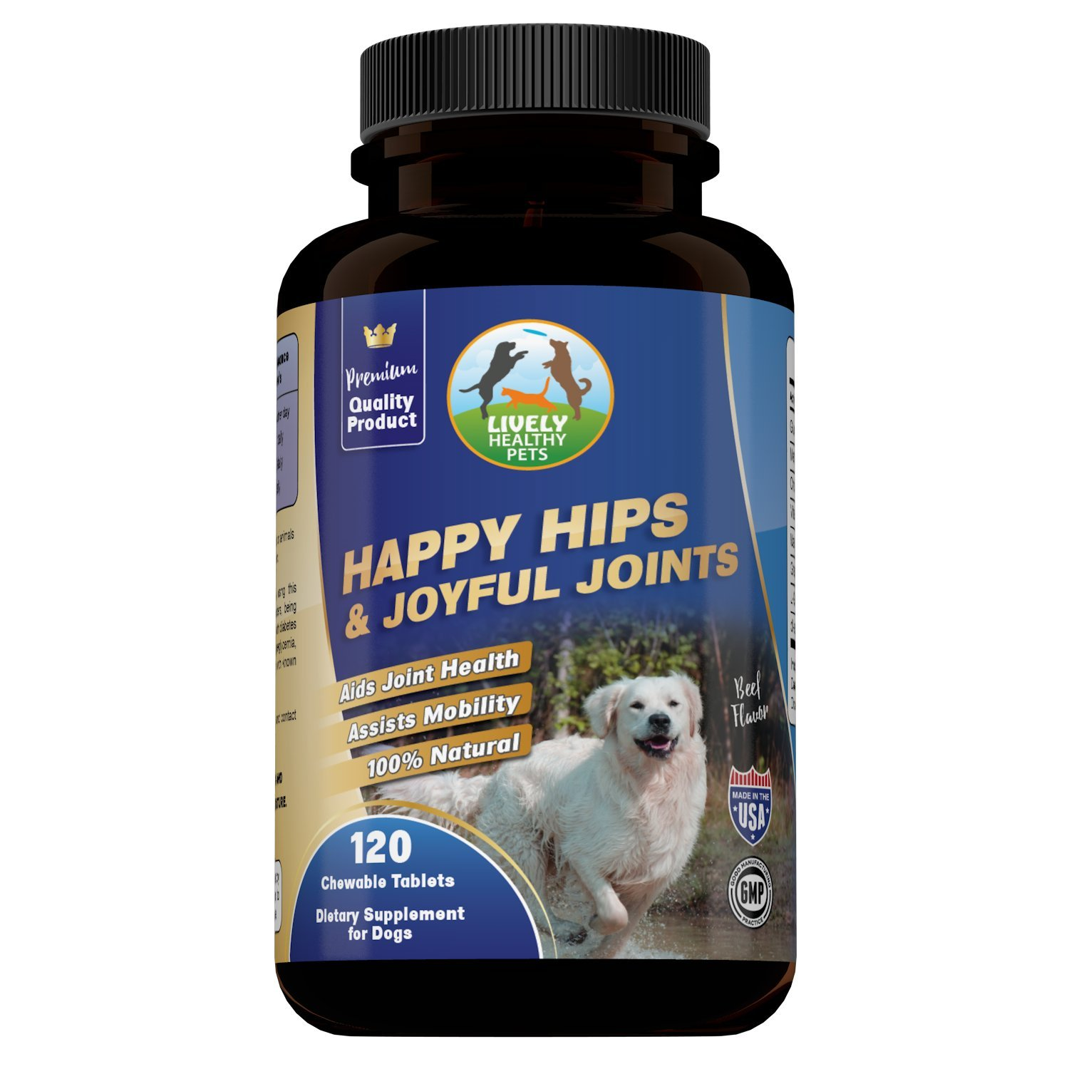Glucosamine for Dogs, Hip and Joint Supplement by Lively Healthy Pets, Chondroitin, MSM, and L-Glutathione, for Optimal Joint Health and Pain Relief Caused by Arthritis, Premium Beef Flavored Treat