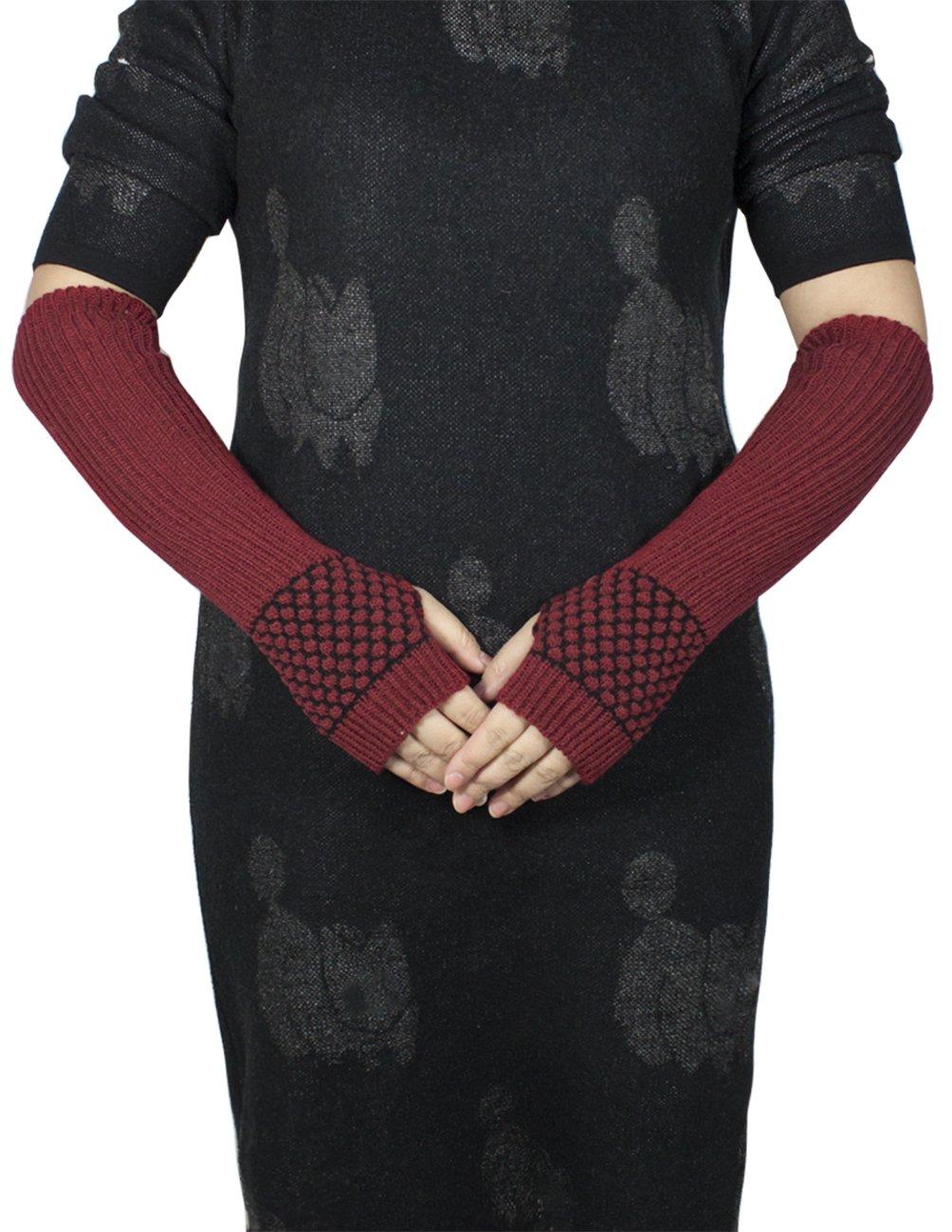 Dahlia Women's Honeycomb Pattern Acrylic Fingerless Arm Warmer Gloves - Red by Dahlia (Image #2)