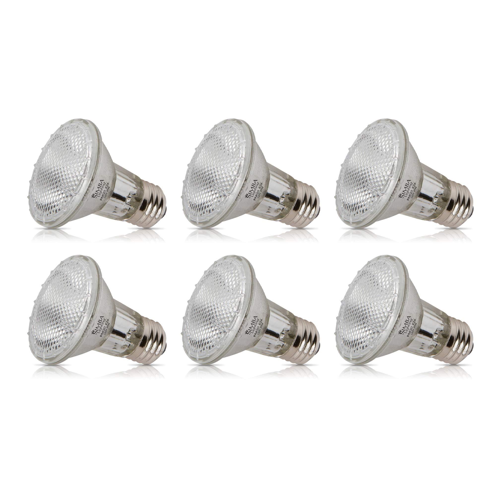 Simba Lighting Halogen PAR20 Light Bulb 39W 39PAR20/FL 30deg Spotlight Dimmable (6-Pack) for Indoor Recessed Can, Range Hood and Outdoor PAR 20, 120V E26 Base, 50W Replacement, 2700K Warm White