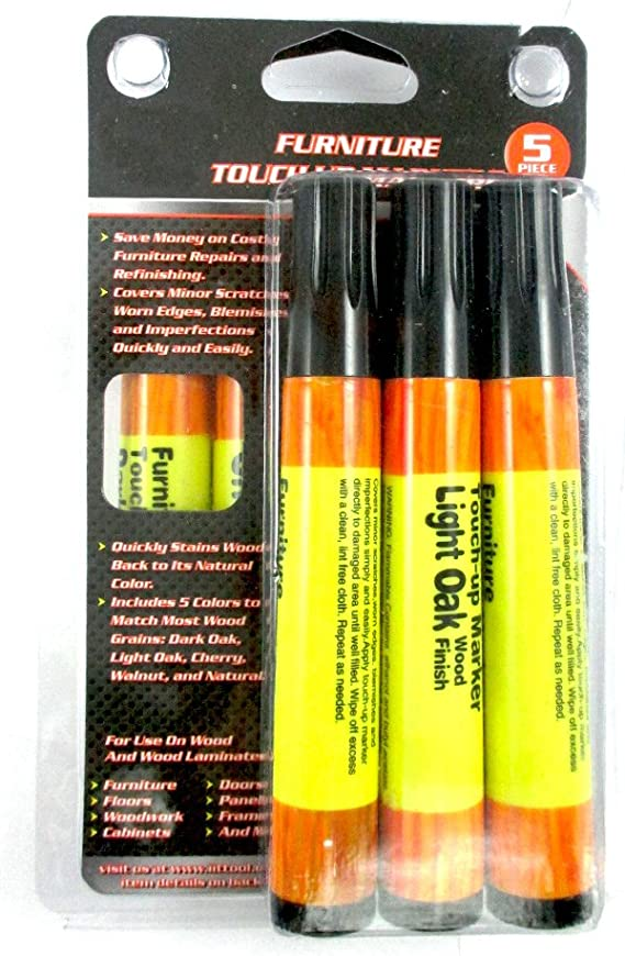 Furniture Touchup Markers Set Wood Repair Scratch Fillers Home 5 Piece Kit New !