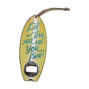 Colgante Retro de tablas de surf estilo cerveza botella abridor – amarillo