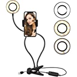 TalkWorks Selfie Ring Light with Cell Phone Holder - Flexible Table-Top Lamp Clip USB LED iPhone Camera Stand - Video Lightin