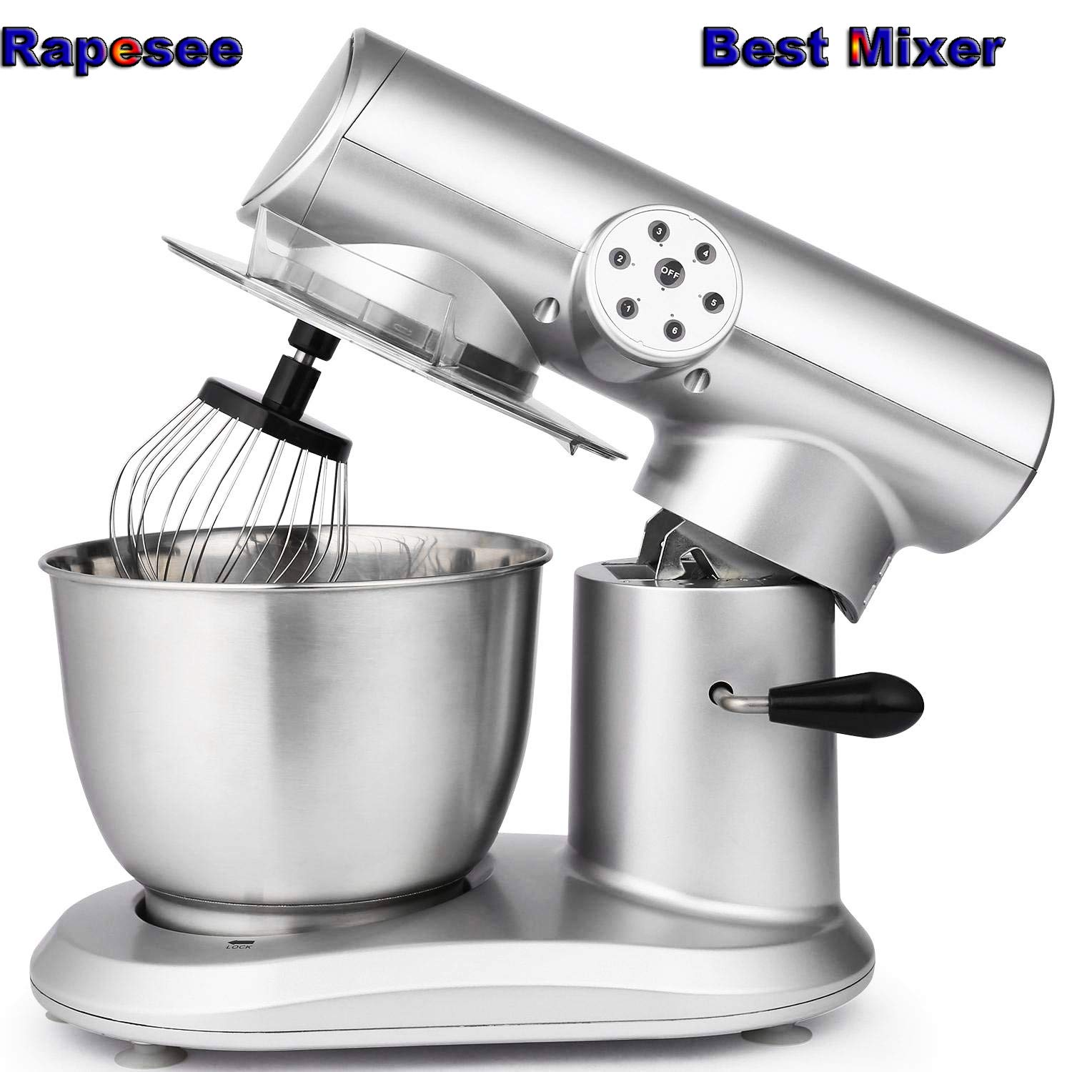 Rapesee Stainless Steel Stand Mixer, 6 Speed 120V 650W Electric Stand up Cake Baking Mixture, Professional Kitchen Food Mixture Machine with 5.5L Bowel, Wire Whip, Dough Hook & Flexible Edge Beater