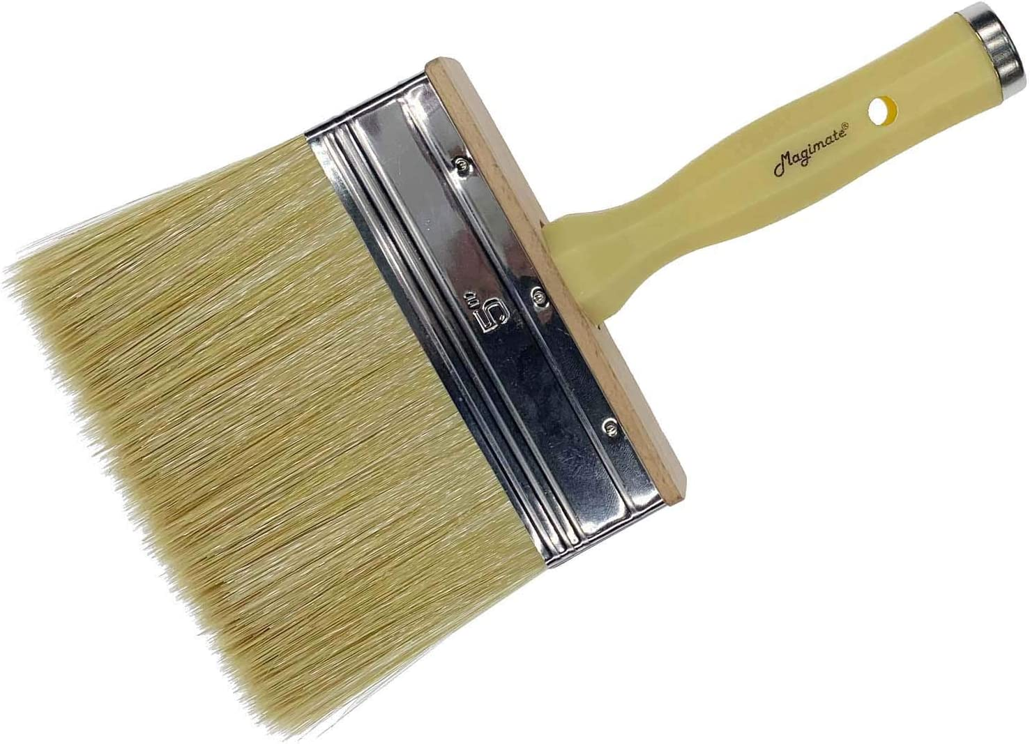 Magimate Deck Brush for Applying Stain, 5-inch Paint Brush, Medium Size for Quick Decking, Fence, Walls and Furniture Paint Application, Handle Threaded for Extension Use