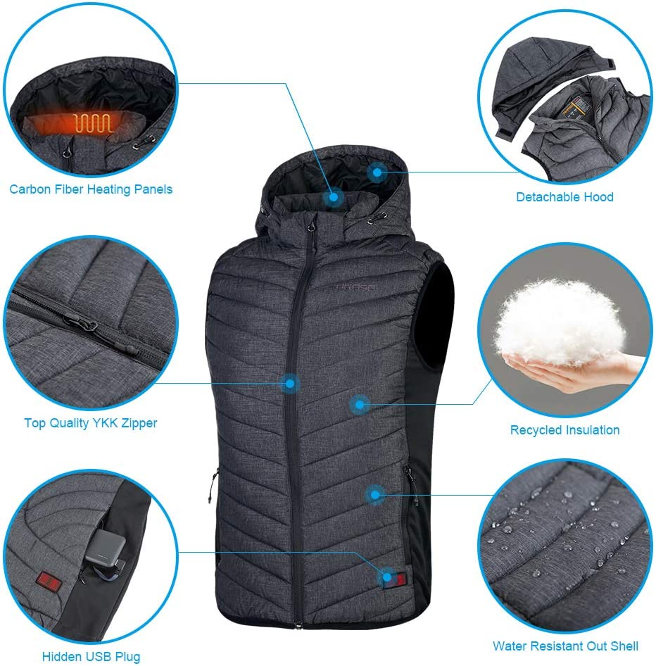10000mAh Power Bank and Laundry Bag Included Overheat Protection Recycled Insulation Removable Hood AKASO Mens Nomad Battery Heated Vest 3 Heating Levels Independent Front Back Control
