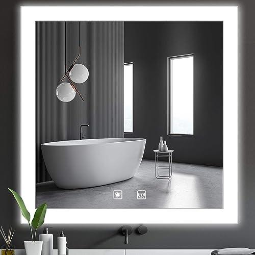 QiMH 35×35 Inch Touch Control LED Bathroom Vanity Mirror
