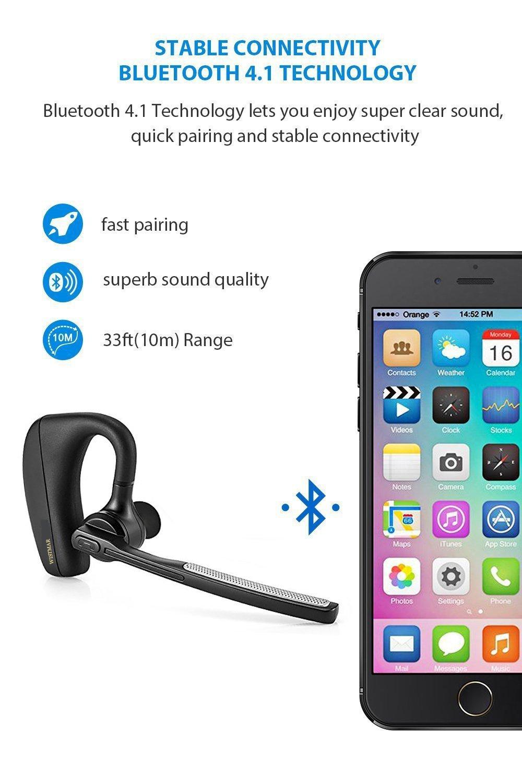 Amazon.com: [ Latest Version] WISTMAR SoundBuds Slim Bluetooth Wireless  Headset Ear Hooks Business HD Stereo Earphones Headphones Noise Cancelling  in-Ear ...