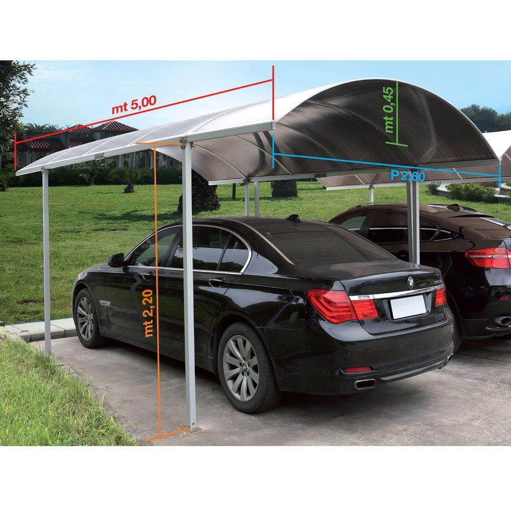 Carport - Cobertizo/Porch para coche 5 mt de largo, 3 mt de ancho, 2, 45 mt de alto. Cobertizo para coche realizado en plexigrass alveolar color fumè.