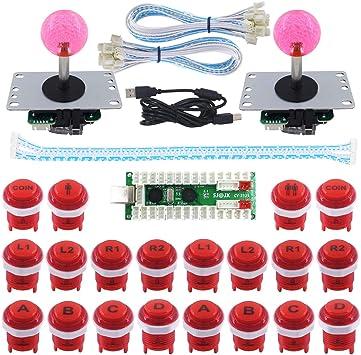 SJ@JX Arcade Game LED DIY Kit Mechanical Keyboard Switch Arcade LED Button Joystick Controller Zero Delay USB Encoder for PC MAME Retropie Jamma