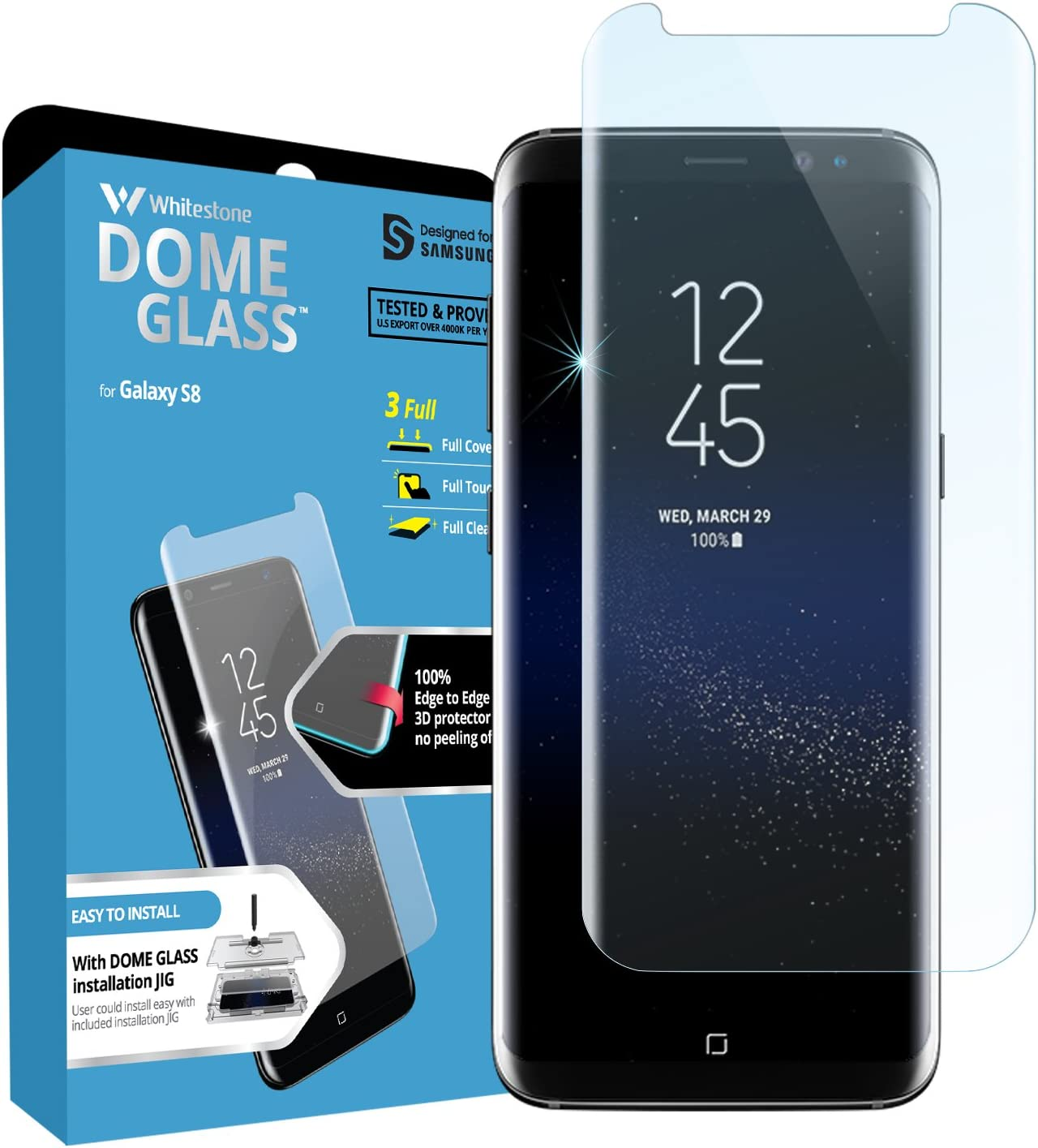 Galaxy S8 Screen Protector, [Dome Glass] Full Coverage 3D Curved Tempered Glass Shield [NO UV Light Included] Easy Install by Whitestone for Samsung Galaxy S8 (2017) - Replacement Only