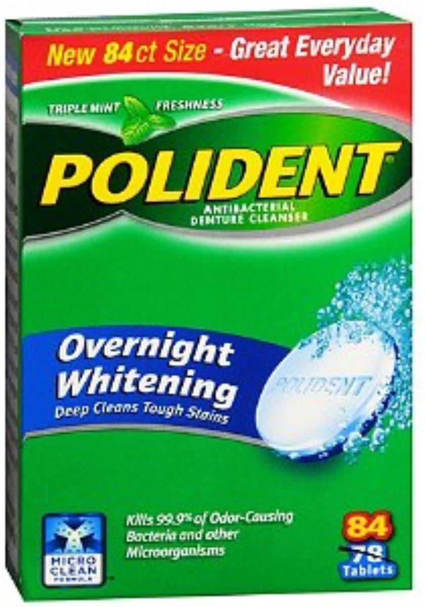 Polident Overnight Whitening, Antibacterial Denture Cleanser, Triple Mint Freshness 84 ea (Pack of 3) by Polident
