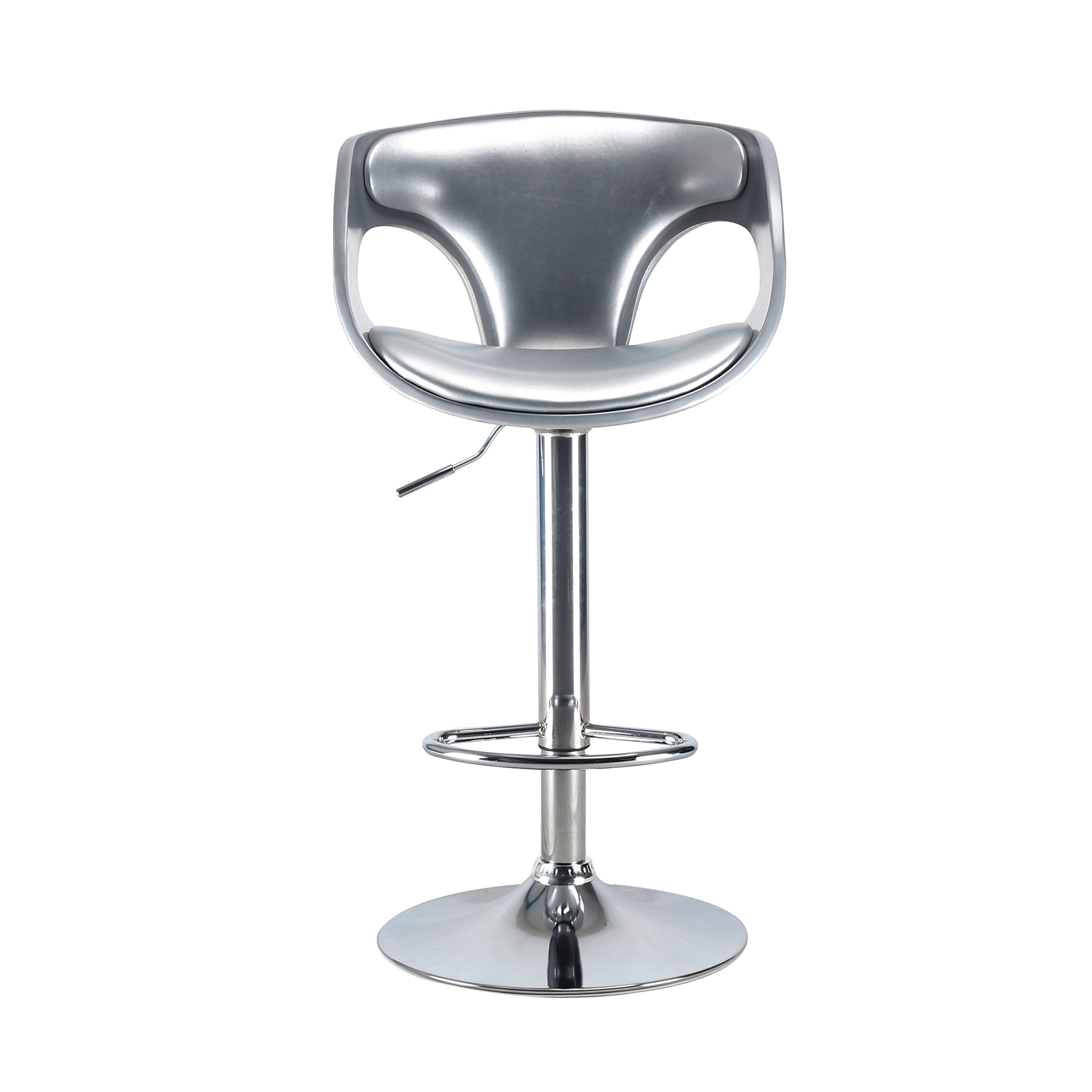 Modern Adjustable Swivel Bar Stool Chair Faux Leather Padded and Plastic Back Counter Height Stools for Indoor Home Bar Kitchen by S S'DENTE FURNISHING THE HOME