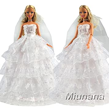 Miunana 1 Vestido de Novia + 1 Velo Vestir Nupcial Princesa Ropa Boda para Muñeca Barbie
