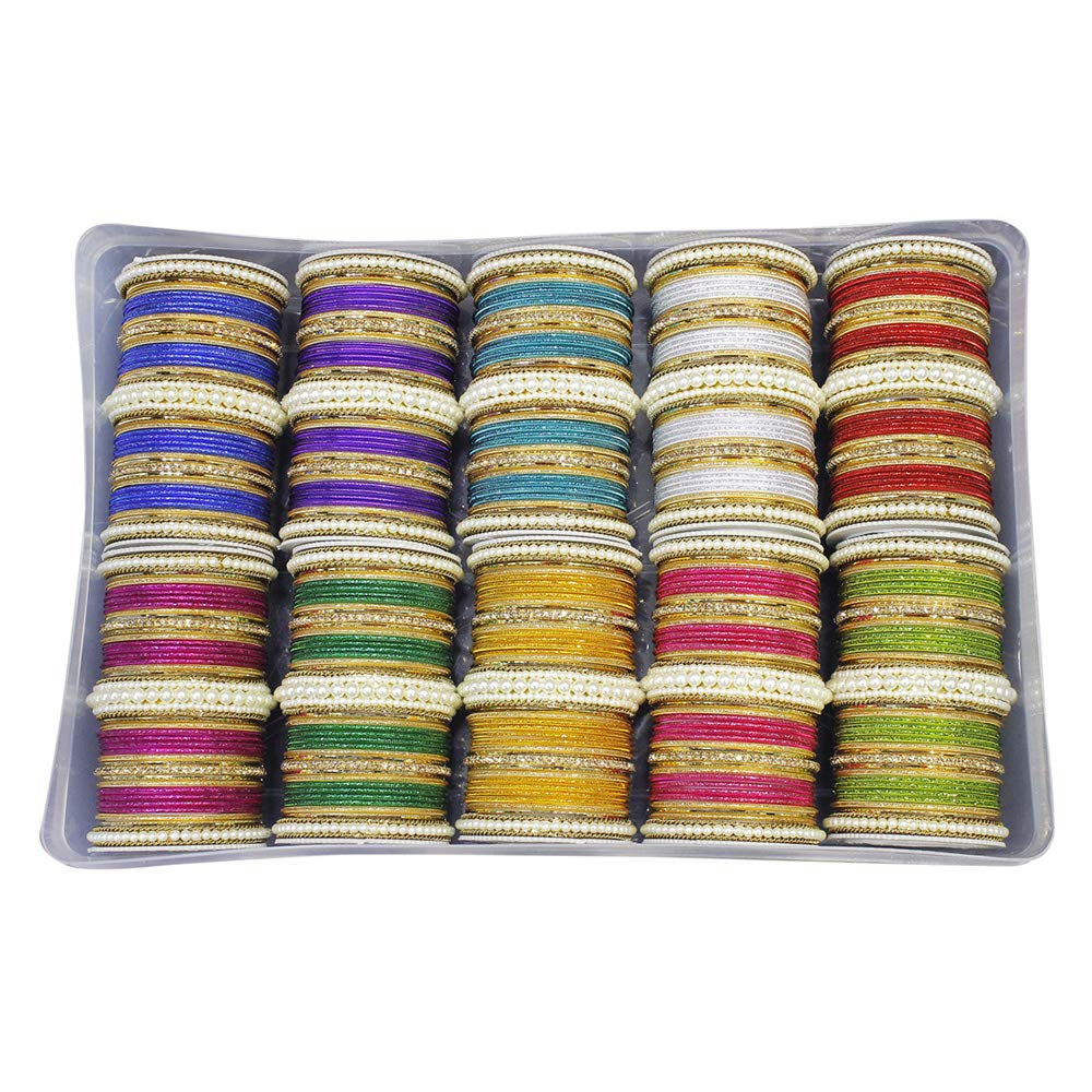 MUCH-MORE Beautiful Bollywood Fashion Indian Bangles Box Multi Color Party wear Bangles Jewelry (85, 2.11)