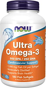 NOW Supplements, Ultra Omega-3, 500 EPA and 250 DHA, Cardiovascular Support*, 180-Fish Gelatin Softgels