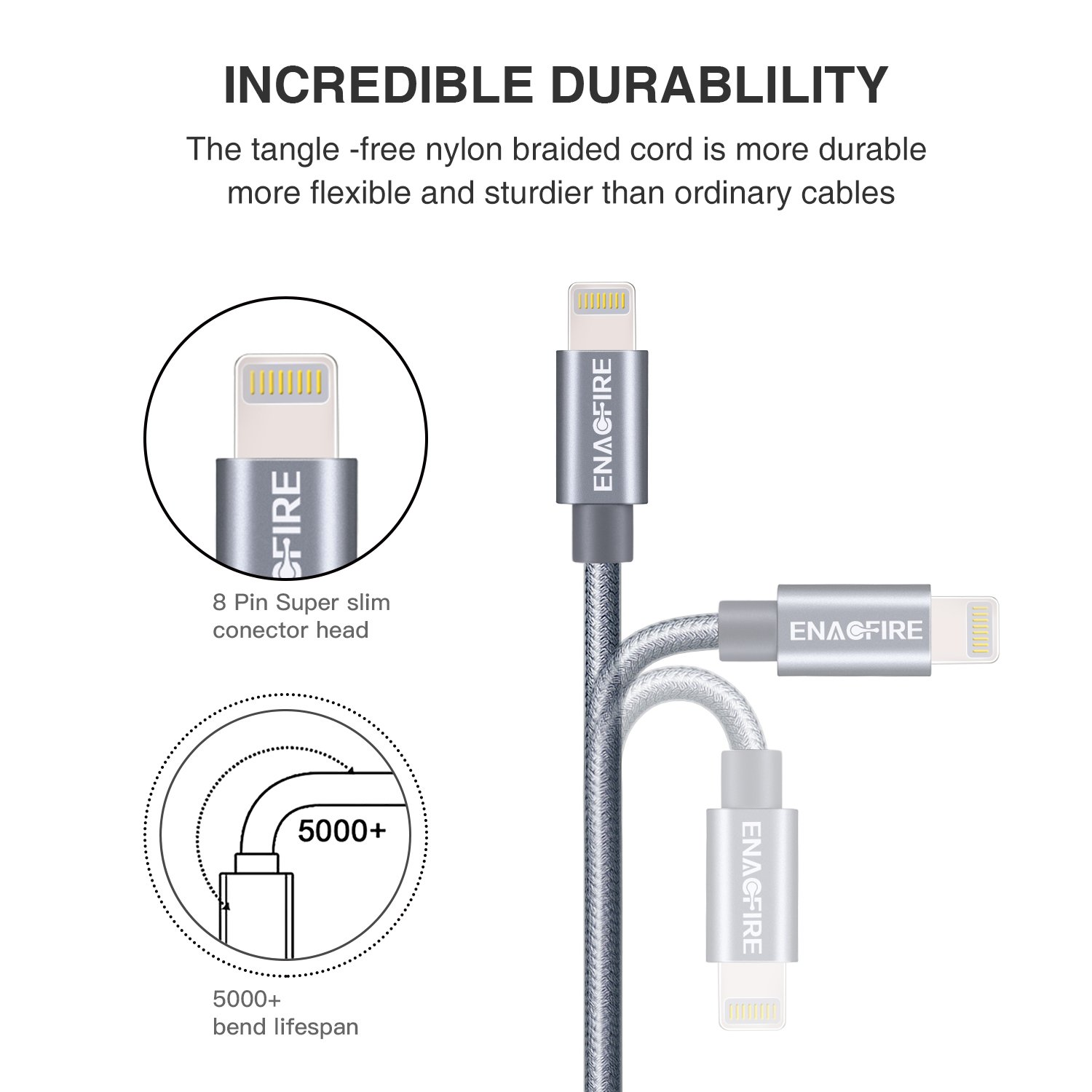 Amazon.com: Lightning Cable iPhone , ENACFIRE iPhone Charger Cable 4 ...