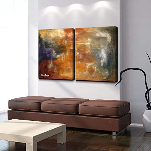 Ready2HangArt Smash XVII' Abstract Modern Contemporary Canvas 2-Piece Wall Art Print Set