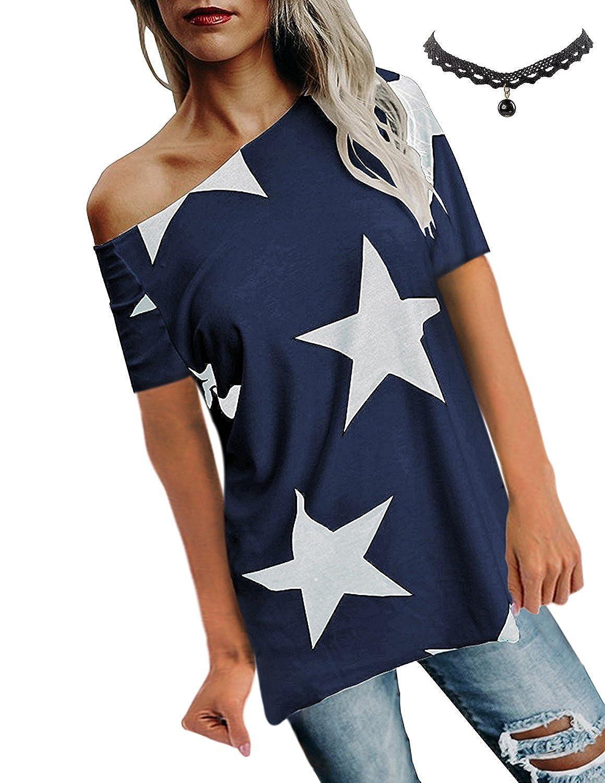 BUOYDM Damen T Shirt One-Shoulder Kurzarm Sternchen Casual Sommer T-Shirt Oberteil Tops