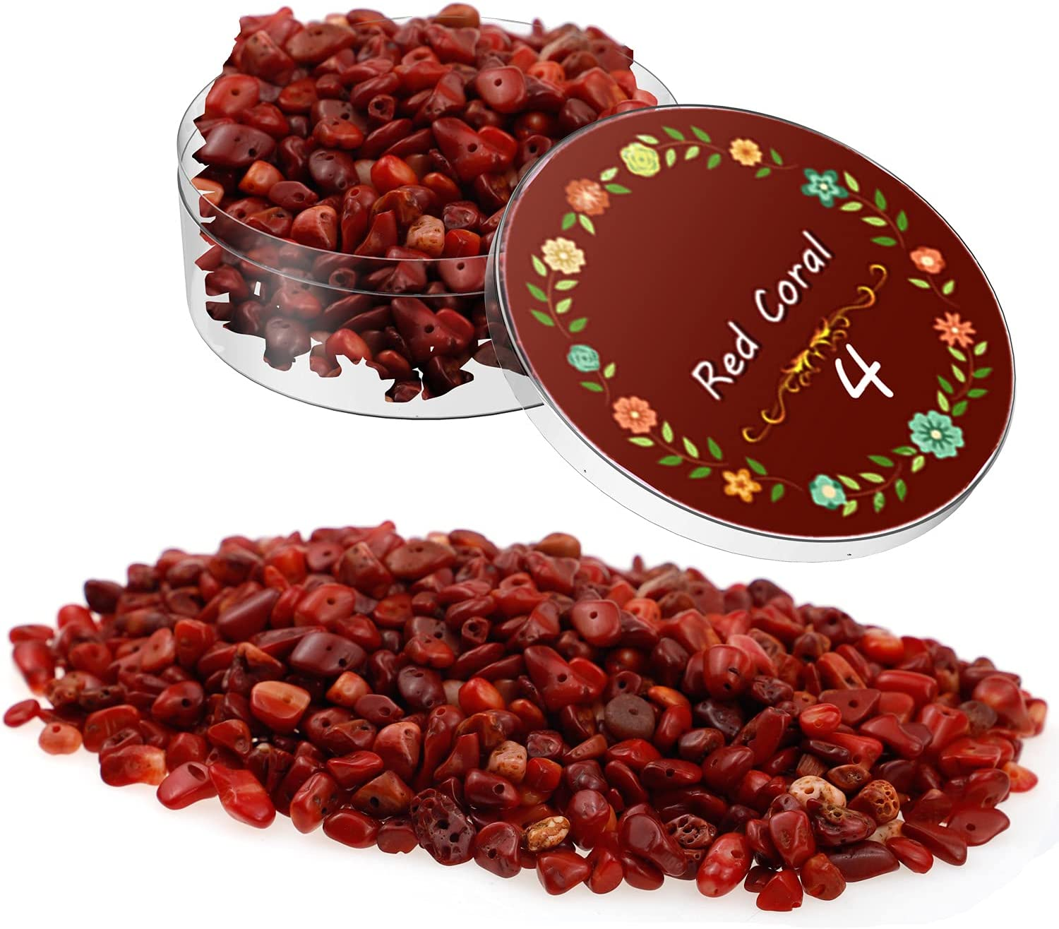 WIWISI 220Pcs Chip Stone Beads 5-8mm Crystal Beads for Jewelry Making, Natural Irregular Gemstones Crushed Bead DIY Tree of Life Pendant Bracelet Ring Earring(Red Coral)