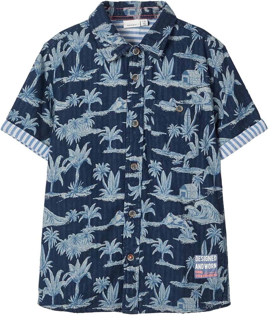 NAME IT Jungen Hemd Kurzarm NKMFERIE SS Shirt Palmenprint