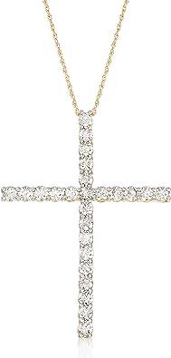 Cross Pendant Size 1 Inch Long Solid 14K Five Diamond Cross Gold Pendant