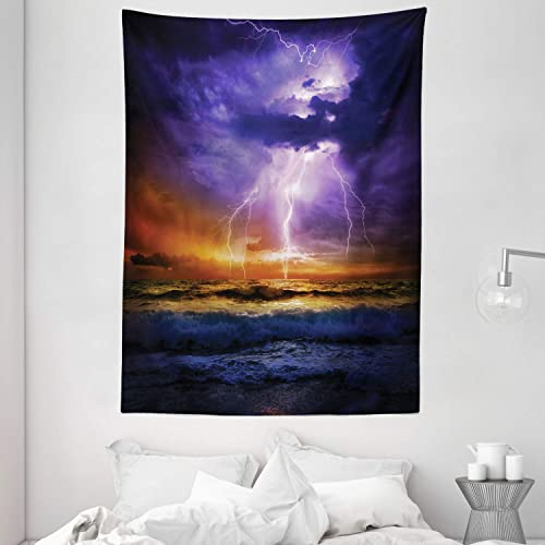 Ambesonne Nature Tapestry, Epic Thunder and The Storm on The Sea Wave Horizon Bad Weather Atmosphere, Wall Hanging for Bedroom Living Room Dorm Decor, 60 X 80 , Purple Orange
