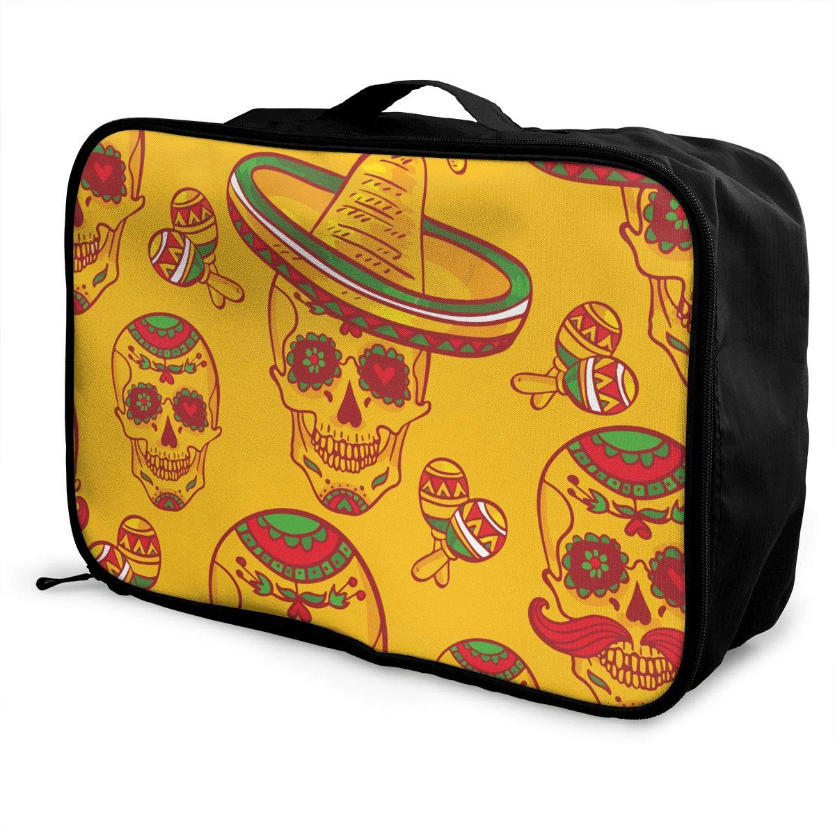 YueLJB Latin Music Skull in Sombrero Day of The Dead Illustration Lightweight Large Capacity Portable Luggage Bag Travel Duffel Bag Storage Carry Luggage Duffle Tote Bag