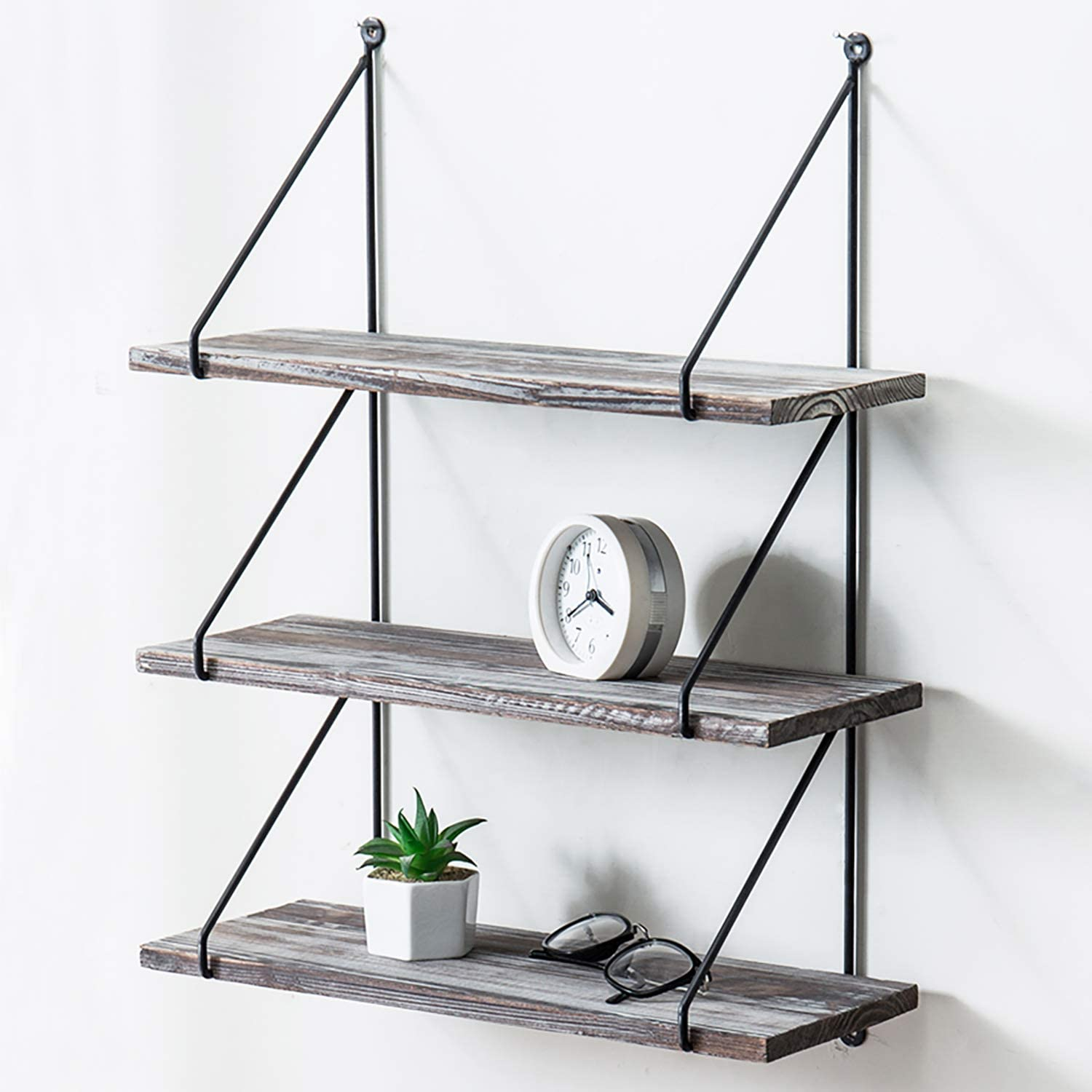 MyGift 3-Tier Torched Wood & Black Metal Wire Wall Mounted Display Shelves