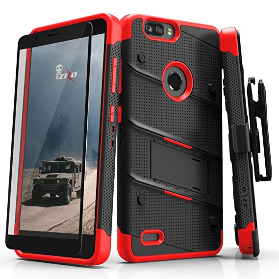 ZIZO Bolt Series Compatible with ZTE Blade Z Max/ZTE Z982 with Screen  Protector, Kickstand [Military Grade Drop Tested] Holster -Black/Red