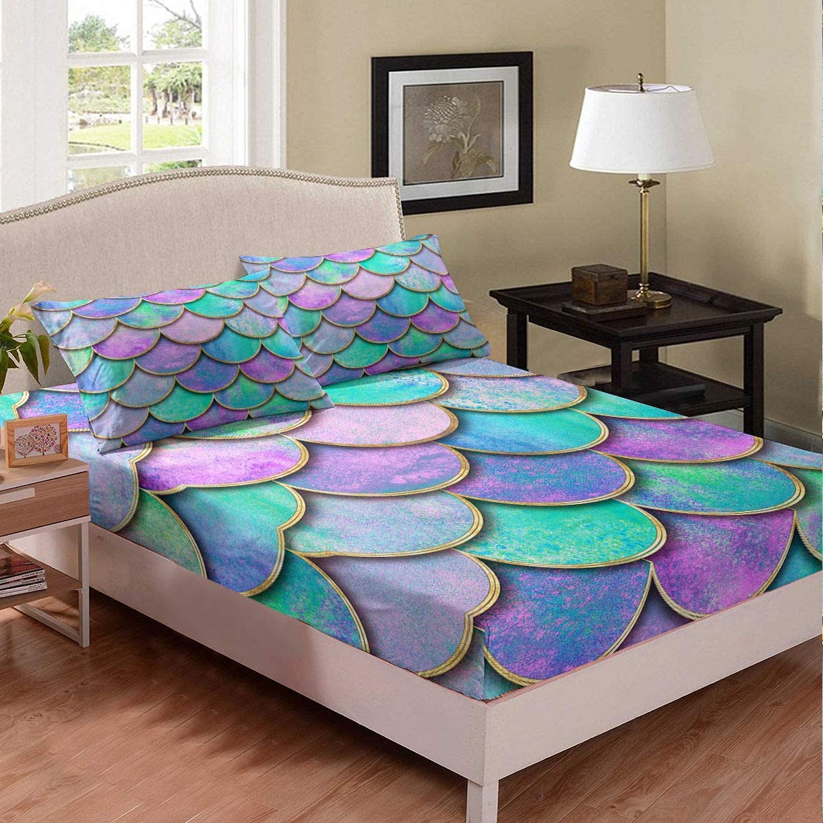 Mermaid Fish Scales Fitted Sheet Twin Size Pink Purple Teal Bedding for Girls Teens Luxury Watercolor Soft Microfiber Kids Room Decor Sheet Set with 1 Pillow Sham, Zipper, Geometric,Blue Golden